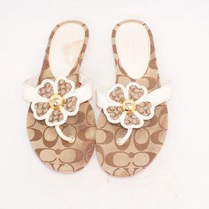 Coach White/Gold Sherrie Flower Logo Sandals, Sz 9